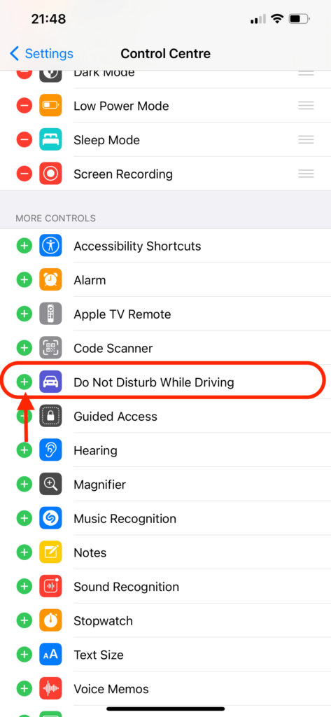 add Do Not Disturb While Driving shortcut