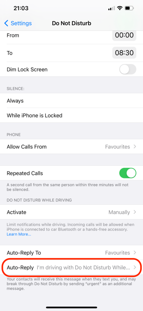 auto-reply text iphone do not disturb