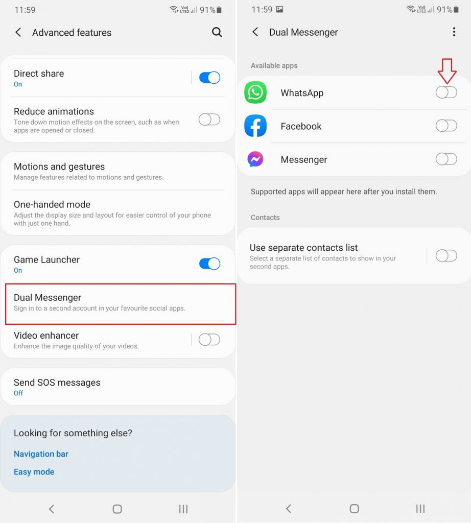 ANDROID ADVANCED FEATURES ENABLE DUAL MESSENGER OPTION