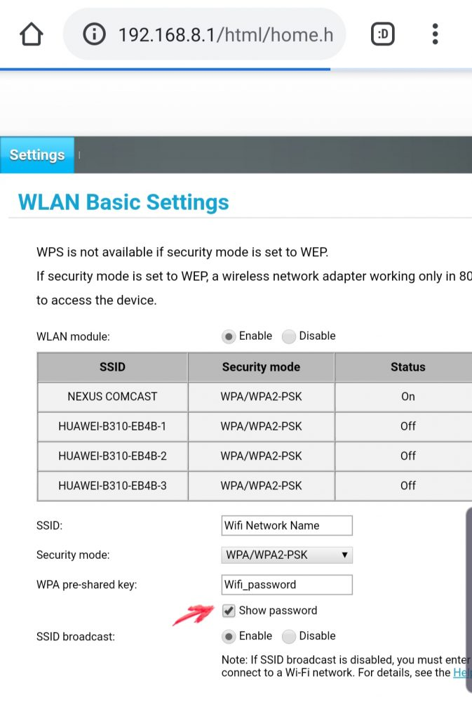 View-wifi-network-password-router