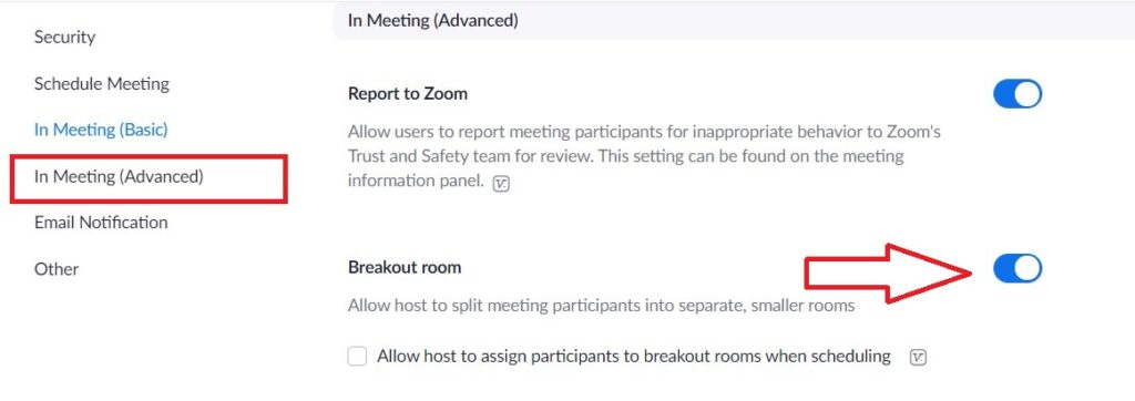 how to enable breakout room in zoom